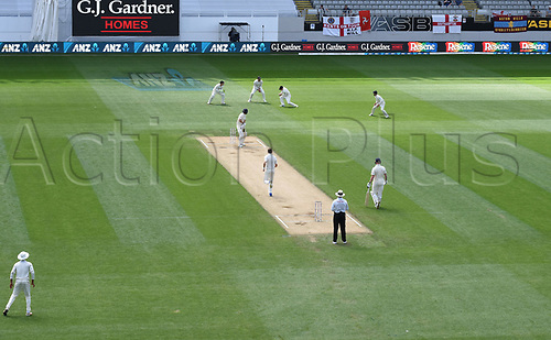26th March 2018, Eden Park, Auckland, New Zealand; International Test Cricket, New Zealand versus England, day 5;  Tom Latham takes a catch at 2nd slip to dismiss Malan