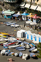 Fishing boats and ticket booths on the beach at Positano, Amalfi Coast, Italy
