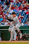 26 September 2018: Miami Marlins infielder Brian Anderson at bat against the Washington Nationals at Nationals Park in Washington, DC. The Nationals defeated the visiting Marlins 9-3, closing out Washington's 2018 home season. Mandatory Credit: Ed Wolfstein Photo *** RAW (NEF) Image File Available ***