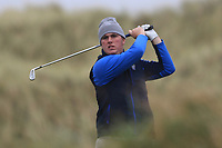Eoin Murphy (Dundalk) on the 13th tee during Round 2 of the Ulster Boys Championship at Portrush Golf Club, Portrush, Co. Antrim on the Valley course on Wednesday 31st Oct 2018.<br /> Picture:  Thos Caffrey / www.golffile.ie<br /> <br /> All photo usage must carry mandatory copyright credit (&copy; Golffile | Thos Caffrey)