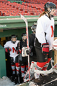 - The Northeastern University Huskies practice on the ice at Fenway Park on Thursday, January 7, 2010, in Boston, Massachusetts.