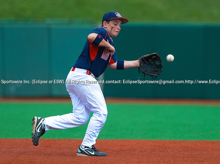 Newtown(CT)'s Lucas O'Brien fields a ground ball during the Cal Ripken Babe Ruth World Series in Aberdeen, Maryland on August 12, 2012