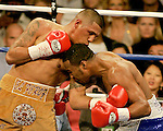 FEBRUARY 24 2006 The left eye of Fernando Vargas swells up. The fight was called in the 10th round because of swelling in the left eye of Vargas as Mosley was given the 10th round TKO victory of the middleweight fight at the Mandalay Bay Events Center on February 25, 2006 in Las Vegas, Nevada.