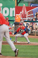 Connor Fitzsimons (14) of the Orem Owlz on defense against the Ogden Raptors at Lindquist Field on August 4, 2018 in Ogden, Utah. The Owlz defeated the Raptors 15-12. (Stephen Smith/Four Seam Images)