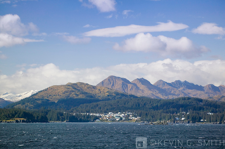 The northeast tip of Kodiak Island and Monashka bay as seen from the Alaska Marine Ferry, fall, gulf of Alaska.