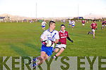 St Marys Daniel Daly has enough of a lead to dismiss the challenge from Dromids Padraig O Sullivan in this South Kerry Semi Final in Watervilel on Saturday.