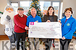 Gráinne Ní Chonchúir from Ballyferriter, presents a cheque to the Kerry Hospice for €5,729.00 from her fundraising effort by running the Dublin Marathon.<br /> L to r: TP O'Chonchuir, Joe Hennerby (Kerry Hospice), Grainne Ní Chonchuir and Mary Shanahan.