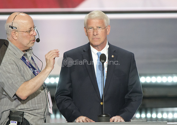 United States Senator Roger Wicker (Republican of Mississippi), right, participates in a rehearsal prior to the 2016 Republican National Convention in Cleveland, Ohio on Sunday, July 17, 2016.  Standing behind them and pointing is US .<br /> Credit: Ron Sachs / CNP/MediaPunch<br /> (RESTRICTION: NO New York or New Jersey Newspapers or newspapers within a 75 mile radius of New York City)