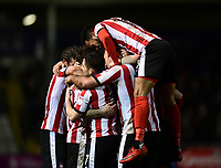 Lincoln City's Neal Eardley celebrates scoring the opening goal with team-mates<br /> <br /> Photographer Chris Vaughan/CameraSport<br /> <br /> The EFL Sky Bet League Two - Lincoln City v Cheltenham Town - Tuesday 13th February 2018 - Sincil Bank - Lincoln<br /> <br /> World Copyright &copy; 2018 CameraSport. All rights reserved. 43 Linden Ave. Countesthorpe. Leicester. England. LE8 5PG - Tel: +44 (0) 116 277 4147 - admin@camerasport.com - www.camerasport.com