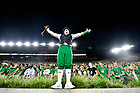 September 1, 2018; ; The Irish Leprechaun cheers during the season opening football game against Michigan. (Photo by Barbara Johnston/University of Notre Dame)