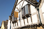 Historic half timbered building of the Angel Inn restaurant in the village of Lacock, Wiltshire, England, UK