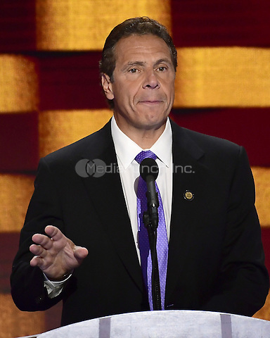 Governor Andrew Cuomo (Democrat of New York) makes remarks during the fourth session of the 2016 Democratic National Convention at the Wells Fargo Center in Philadelphia, Pennsylvania on Thursday, July 28, 2016.<br /> Credit: Ron Sachs / CNP/MediaPunch<br /> (RESTRICTION: NO New York or New Jersey Newspapers or newspapers within a 75 mile radius of New York City)