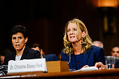 WASHINGTON, DC - SEPTEMBER 27: Christine Blasey Ford, with lawyer Debra S. Katz, left, answers questions at a Senate Judiciary Committee hearing on Thursday, September 27, 2018 on Capitol Hill. (Melina Mara/Pool/The Washington Post)