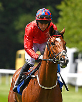 Pow Wow ridden by Kieran Shoemark goes down to the start of  The Derek Burridge Golf & Racing Trophies Handicap, during Father's Day Racing at Salisbury Racecourse on 18th June 2017