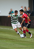 July 16, 2010 Rafeal Da Silva No. 21of Manchester United and Joe Ledley No. 16 of Celtic FC  during an international friendly between Manchester United and Celtic FC at the Rogers Centre in Toronto.