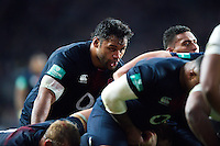 Billy Vunipola of England looks on at a scrum. Old Mutual Wealth Series International match between England and Fiji on November 19, 2016 at Twickenham Stadium in London, England. Photo by: Patrick Khachfe / Onside Images