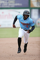 Torii Hunter jr. (4) of the Inland Empire 66ers runs the bases during a game against the Stockton Ports at San Manuel Stadium on May 26, 2019 in San Bernardino, California. (Larry Goren/Four Seam Images)