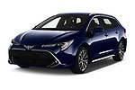 2019 Toyota Corolla Touring Sports Premium 5 Door Wagon angular front stock photos of front three quarter view