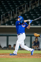 AZL Cubs designated hitter Marcus Mastrobuoni (5) follows through on his swing against the AZL Mariners on August 4, 2017 at Sloan Park in Mesa, Arizona. AZL Cubs defeated the AZL Mariners 5-3. (Zachary Lucy/Four Seam Images)