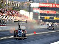Nov 11, 2017; Pomona, CA, USA; NHRA top fuel driver Troy Buff goes sideways during qualifying for the Auto Club Finals at Auto Club Raceway at Pomona. Mandatory Credit: Mark J. Rebilas-USA TODAY Sports