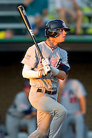 Tyler Naquin #33 (Texas A&M) of the USA Baseball Collegiate National Team follows through on his swing against the Gastonia Grizzlies at Sims Legion Park on June 30, 2011 in Gastonia, North Carolina.  Team USA defeated the Grizzlies 12-5.  Brian Westerholt / Four Seam Images