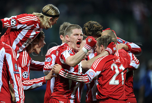 23.02.2011 A small measure of revenge for Bayern Munich as the German side earned a valuable 1-0 Champions League first leg win against Inter Milan. Picture shows Anatoliy Tymoshchuk, Holger Badstuber, Bastian Schweinsteiger and Philipp Lahm celebrating the goal.