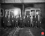 Railroad company staff members posed in front of two trolleys on January 5, 1929 for this photograph to commemorate that day being the last run of the trolley between Winsted and Torrington. Pictured here are Cortland Horton, William Shay, Edward Healy, Grover Roys, Leon Dayfield, Baptist Zlecken, Miles Rood, John Abatta, B. Pars and Joseph Rowinski.