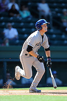 Designated hitter Patrick Valaika (16) of the Asheville Tourists bats in a game against the Greenville Drive on Wednesday, April 23, 2014, at Fluor Field at the West End in Greenville, South Carolina. Greenville won, 6-0. (Tom Priddy/Four Seam Images)