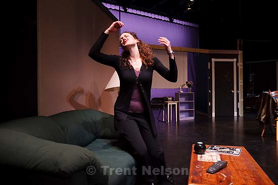 """Salt Lake City - Tracie Merrill (""""Callie"""") in a rehearsal for Pygmalion Theatre Company's production of StopKiss Wednesday February 4, 2009 at the Rose Wagner Center for the Performing Arts ;"""