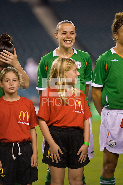 The United States Women's National Team (USA) defeated the Republic of Ireland (IRL) 2-0 during an international friendly at Lincoln Financial Field in Philadelphia, PA, on September 13, 2008.