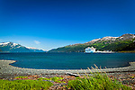 Cruise ship 'Diamond Princess' docked at Port of Whittier surrounded by Chugach Mountains under blue sky. Southcentral Alaska, Summer.