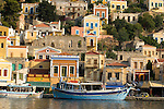 Harbor and homes in Simi, Greece