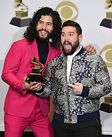 "LOS ANGELES - JANUARY 26: (L-R) Dan Smyers and Shay Mooney of Dan + Shay, winner of Best Country Duo/Group Performance for ""Speechless"" at the 62nd Annual Grammy Awards at Staples Center on January 26, 2020 in Los Angeles, California. (Photo by Frank Micelotta/PictureGroup)"