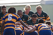 The Pukekohe forwards prepare to pack down in a scrum. CMRFU Counties Power Premier Club Rugby game between Patumahoe & Pukekohe played at Patumahoe on April 12th, 2008..The halftime score was 10 all with Pukekohe going on to win 23 - 18.
