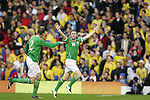 29 May 2008: Robbie Keane (IRL) (10) celebrates his third minute goal. The Republic of Ireland Men's National Team defeated the Colombia Men's National Team 1-0 at Craven Cottage in London, England in an international friendly soccer match.