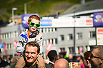 Young fan enjoying the atmosphere at sign on before the start of Stage 3 of the 2018 Artic Race of Norway, running 194km from Honningsvg to Hammerfest, Norway. 18th August 2018. <br /> <br /> Picture: ASO/Pauline Ballet | Cyclefile<br /> All photos usage must carry mandatory copyright credit (© Cyclefile | ASO/Pauline Ballet)