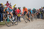 Greg Van Avermaet (BEL) CCC Team and Oliver Naesen (BEL) AG2R La Mondiale in action during the 117th edition of Paris-Roubaix 2019, running 257km from Compiegne to Roubaix, France. 14th April 2019<br /> Picture: Thomas van Bracht/PelotonPhotos.com | Cyclefile<br /> All photos usage must carry mandatory copyright credit (&copy; Cyclefile | Thomas van Bracht/PelotonPhotos.com)