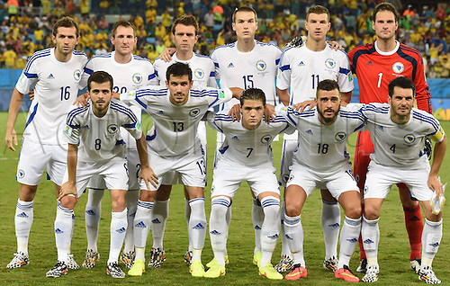 21.06.2014. Cuiaba, Brazil.  Bosnia and Herzegovinas players pose for a group photo during a Group F match between Nigeria and Bosnia and Herzegovina of 2014 FIFA World Cup at the Arena Pantanal Stadium in Cuiaba, Brazil, on June 21, 2014.