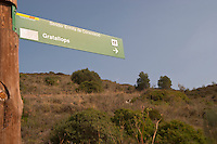 Walking path sign to Gratallops. Priorato, Catalonia, Spain
