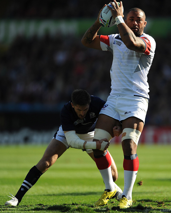Samu Manoa of USA looks for support  during Match 18 of the Rugby World Cup 2015 between Scotland and USA - 27/09/2015 - Elland Road, Leeds<br /> Mandatory Credit: Rob Munro/Stewart Communications