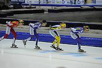 SCHAATSEN: HEERENVEEN: 25-10-2014, IJsstadion Thialf, Marathonschaatsen, KPN Marathon Cup 2, Iris van der Stelt (#54), Carla Ketellapper-Zielman (#13), Carien Kleibeuker (#26), Rixt Meijer (#97), ©foto Martin de Jong