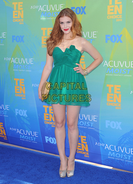 Holland Roden.2011 Teen Choice Awards - Arrivals held at Gibson Amphitheatre, Universal City, California, USA..August 7th, 2011.full length green dress hand on hip gold clutch bag strapless. .CAP/RKE/DVS.©DVS/RockinExposures/Capital Pictures.