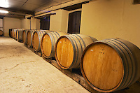 A row of demi muid barrels in the wine cellar used for aging the wine in oak, Champagne Jacquesson in Dizy, Vallee de la Marne, Champagne, Marne, Ardennes, France