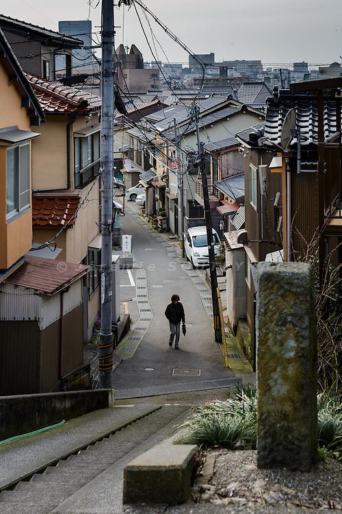 Kanazawa, March 16 2015 - View over the city from the Higashiyama 2-chome area.