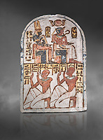 "Ancient Egyptian Stele of Amenemope dedicated to Amenhotep I and Ahmose-Nefertari, limestone, New Kingdom, 19th Dynasty, (1279-1213 BC), Deir el-Medina, Drovetti cat 1454. Egyptian Museum, Turin. Grey background.<br /> <br /> The stele is dedicated to Amenhotep I and Ahmose-Nefertari by the 'Servant in the Place of Truth' Amenemope and Amennakht. The king and the queen are shown sitting on their thrones. Above the sovereign there is a solar disc flanked by two sacred cobras and their cartouches are shown to the right of each of them. In the bottom register Amenemope is shown with his son  Amennakht, who also was a ""Servant in the Place of Truth"", in the pose of adoration."