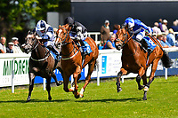 Winner of The Penang Turf Club Malaysia Novice Stakes (Plus 10 Race) (Class 4) Rumble in the Jungle middle ridden by Tom Queally and trained by Richard Spencer  during Afternoon Racing at Salisbury Racecourse on 17th May 2018