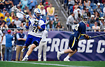 FOXBORO, MA - MAY 28: Ben Higgins (24) of the Limestone Saints with the ball during the Division II Men's Lacrosse Championship held at Gillette Stadium on May 28, 2017 in Foxboro, Massachusetts. (Photo by Larry French/NCAA Photos via Getty Images)