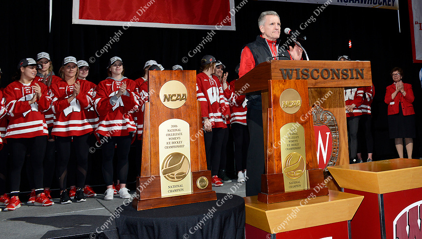 Head coach, Mark Johnson, introduces the 2019 national champion Badgers Wisconsin women's hockey team during the NCAA championship awards ceremony on Monday, 3/25/19, at the Kohl Center in Madison, Wisconsin