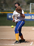 Wildcats' Nicole Lesniak pitches against Colorado Northwestern during a college softball game at Edmonds Sports Complex Carson City, Nev., on Friday, April 17, 2015. WNC won both games 8-0, 11-3.<br /> Photo by Cathleen Allison/Nevada Photo Source