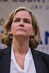 Uniondale, New York, USA. January 30, 2017. Nassau County Legislator LAURA CURRAN (Dem - 5D - Baldwin), 48, candidate for Nassau County Executive, receives endorsement from Democratic leaders. J. Jacobs, Nassau County Democratic Committee Chairman made the announcement. Curran is in her second term as Nassau County Legislator for 5th Legislative District. A primary is expected.